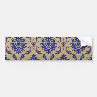 Gold and Zaffre Blue Classic Damask Bumper Sticker