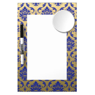Gold and Zaffre Blue Classic Damask Dry Erase Board With Mirror