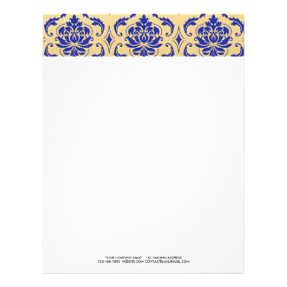 Gold and Zaffre Blue Classic Damask Letterhead