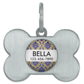 Gold and Zaffre Blue Classic Damask Pet Tag