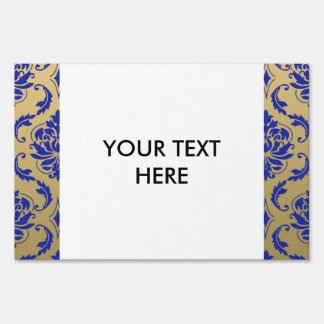 Gold and Zaffre Blue Classic Damask Sign