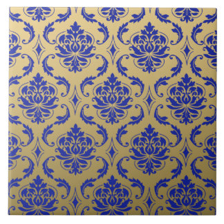 Gold and Zaffre Blue Classic Damask Tile