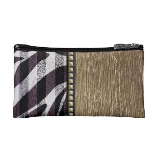 Gold and Zebra Print Stripes & Gold Studs Makeup Bag