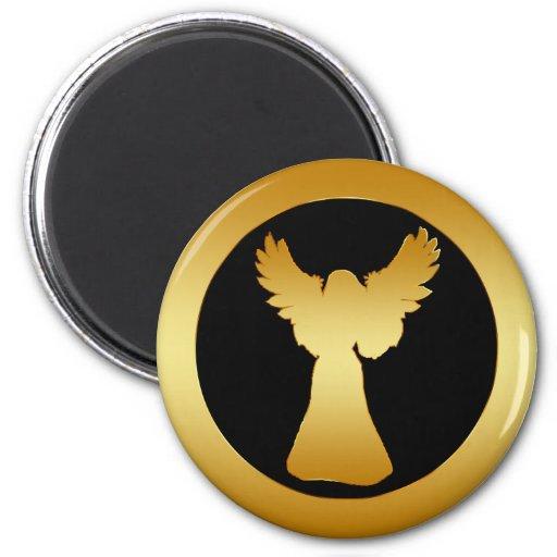 GOLD ANGEL 2 INCH ROUND MAGNET