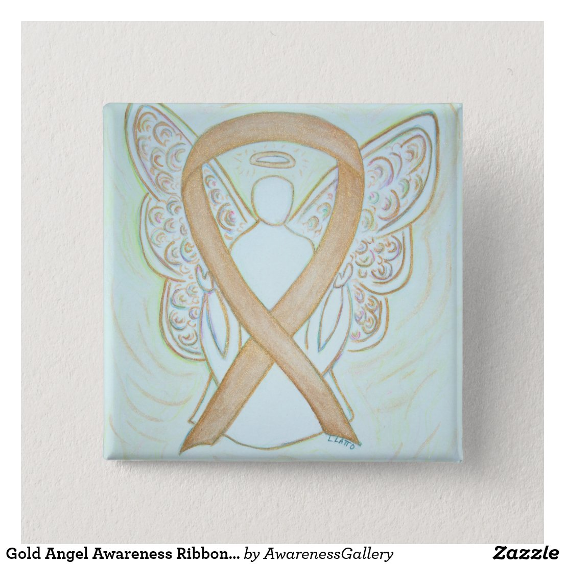 Gold Angel Awareness Ribbon Art Pin