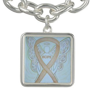 Gold Angel Awareness Ribbon Jewerly Charm Bracelet