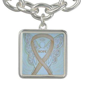 Gold Angel Awareness Ribbon Jewerly Charm Bracelet