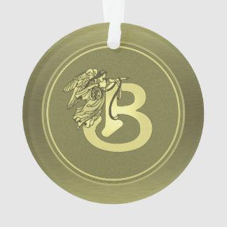 Gold Angel Monogram Medallion Letter B
