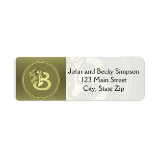 Gold Angel Monogram Medallion Letter B Label