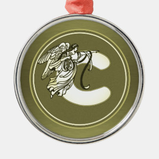 Gold Angel Monogram Medallion Letter C Metal Ornament