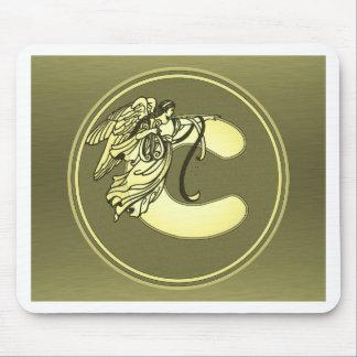 Gold Angel Monogram Medallion Letter C Mousepad