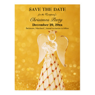 Gold Angel Save The Date Christmas Office Party Postcard