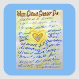 Gold Angel What Cancer Cannot Do Poem Decals Square Sticker