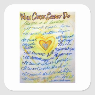 Gold Angel What Cancer Cannot Do Poem Stickers