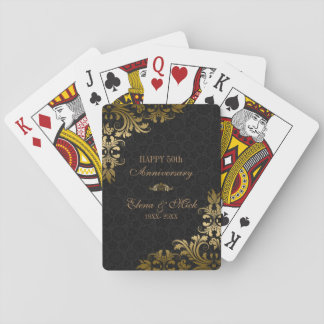 Gold Anniversary- Black Damask Gold Swirls Playing Cards