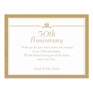 Gold Anniversary Thank You Postcard