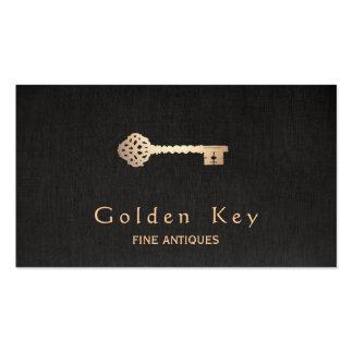 Gold Antique Skeleton Key Black Business Card