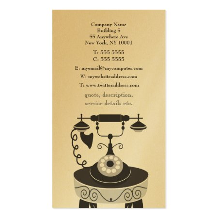 Gold Vintage Telephone and Table Antique Dealer Business Cards