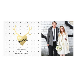 Gold Antlers   Holiday Photo Card