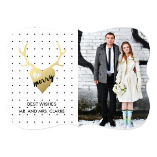 Gold Antlers | Holiday Photo Card