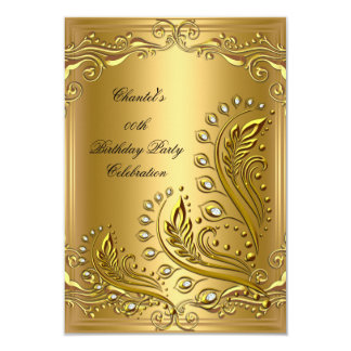 Gold Any Age Elegant Birthday Party Floral Card