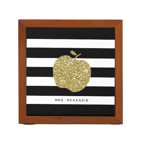 Gold Apple Black Stripes Teacher Desk Organizer