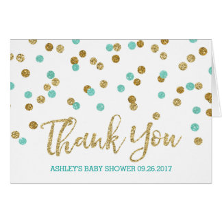 Gold Aqua Blue Confetti Baby Shower Thank You Card