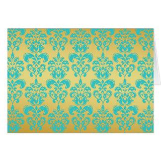 Gold, Aqua Blue Damask Pattern 2 Stationery Note Card