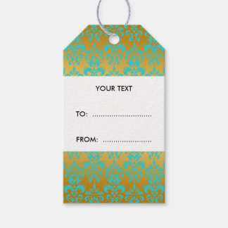 Gold, Aqua Blue Damask Pattern 2 Pack Of Gift Tags