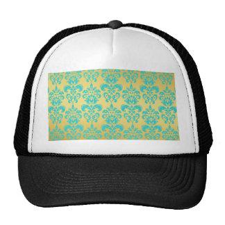 Gold, Aqua Blue Damask Pattern 2 Mesh Hats