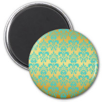 Gold, Aqua Blue Damask Pattern 2 Magnet