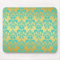 Gold, Aqua Blue Damask Pattern 2 Mouse Pad