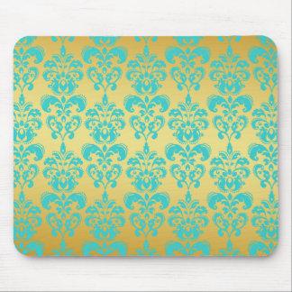 Gold, Aqua Blue Damask Pattern 2 Mouse Pad