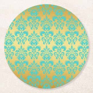 Gold, Aqua Blue Damask Pattern 2 Round Paper Coaster