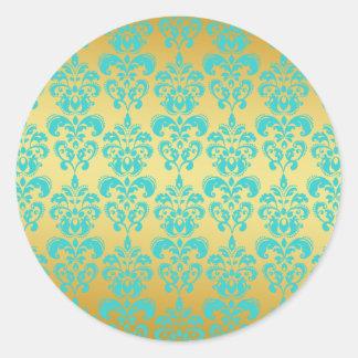 Gold, Aqua Blue Damask Pattern 2 Round Sticker