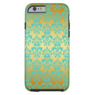 Gold, Aqua Blue Damask Pattern 2 Tough iPhone 6 Case