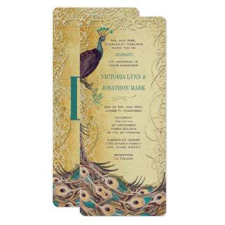 Gold Aqua Eggplant Art Nouveau Peacock Wedding Card