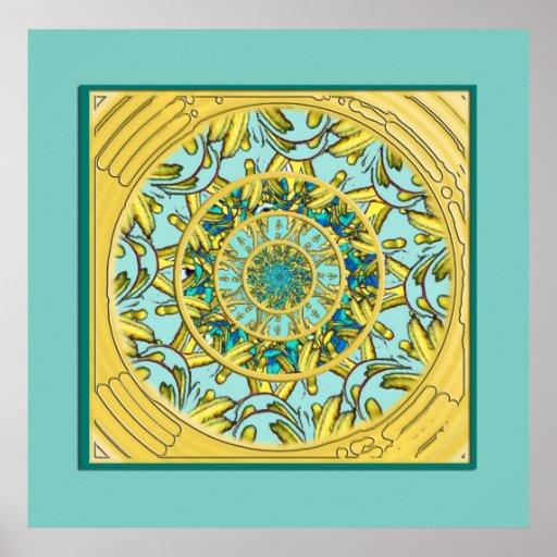Gold & Aqua Lotus Mandala Poster