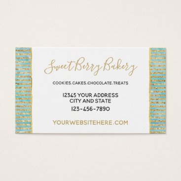 Professional Business Gold Aqua Mint Watercolor Glitzy Stripes Business Card