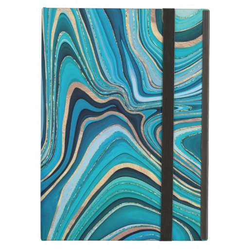 gold aqua sensual swirls design case for iPad air