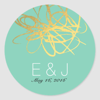 Gold Aqua Wedding Sticker Label Round