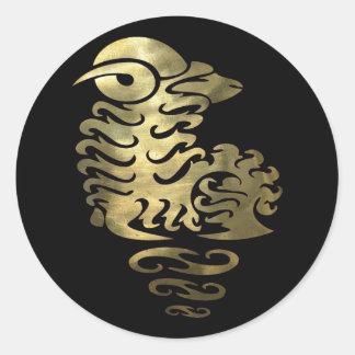 Gold Aries Ram Round Stickers