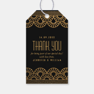 Gold Art Deco Fan Custom Photo Thank You Tag Pack Of Gift Tags