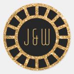 Gold Art Deco Fan Gatsby Monogram Sticker
