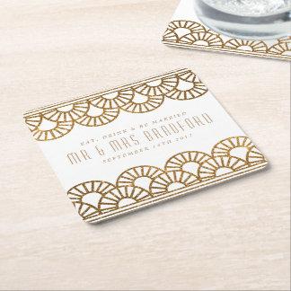Gold Art Deco Fan Wedding and Celebration Coasters