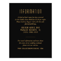 Gold Art Deco Fan Wedding Information Card