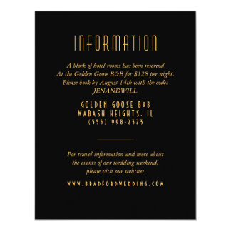 Gold Art Deco Fan Wedding Information Card