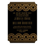 Gold Art Deco Fan Wedding Invitation