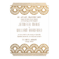 Gold Art Deco Fan Wedding Invitation in White