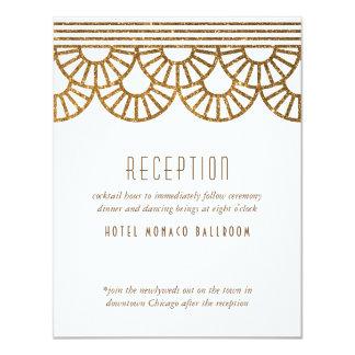 Gold Art Deco Fan Wedding Invitation Reception